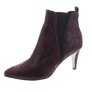 DKNY SNAKESKIN PRINT ANKLE BOOTIES BOOTS
